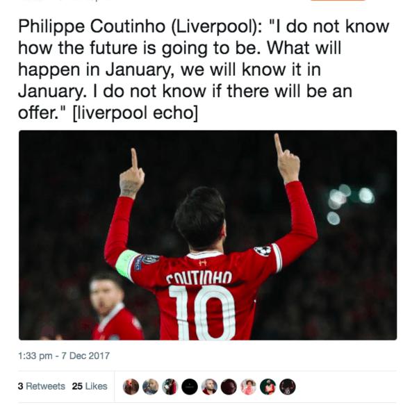 库蒂尼奥:巴萨邀请难以拒绝 不确定是否离利物浦