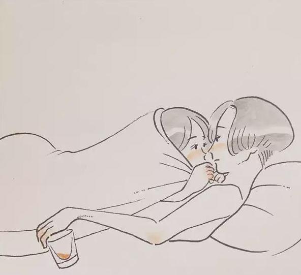 女生手夹烟简笔画