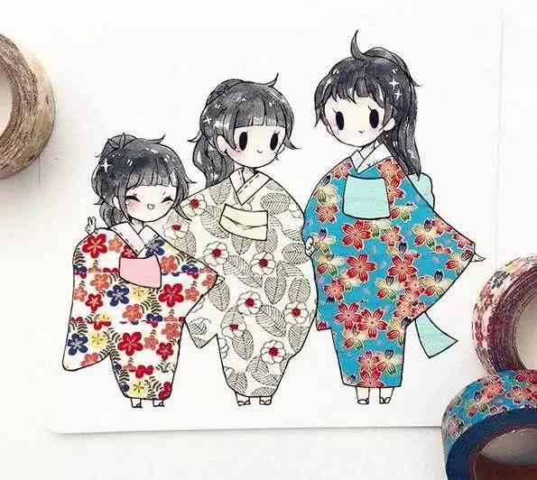 漂亮小姐姐制作的梦幻纸胶带和服插画,实在是太美了!