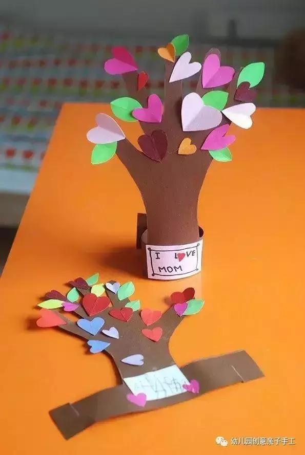 七个幼儿园手工卡纸教程:爱心手掌树动物手偶等,简单版小班易学图片