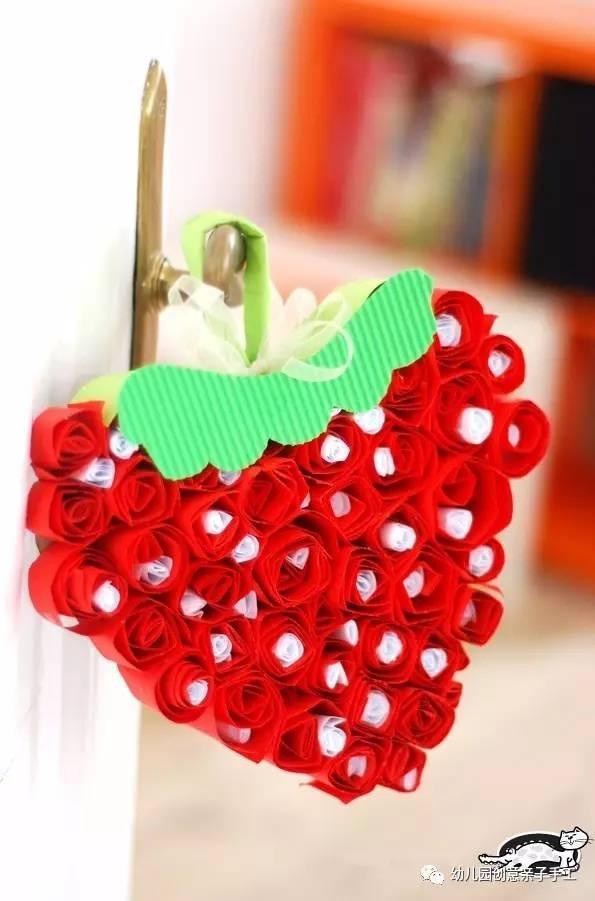幼儿园亲子手工之环创:卡纸制作立体水果吊饰,葡萄草莓苹果等