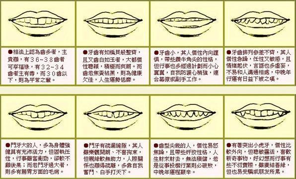 详细分析: 面相算命图解牙齿各种长相带来的运势, 不看你会后悔!