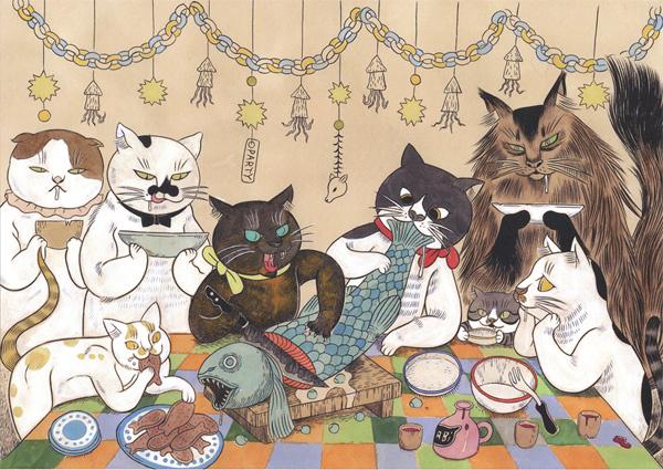 诞又有趣之猫来自石黑亚矢子。她是恐怖漫画家哈漫画奴曼图片