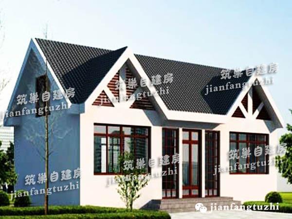 农村一层带阁楼小洋楼自建房设计图, 青砖白墙, 清新