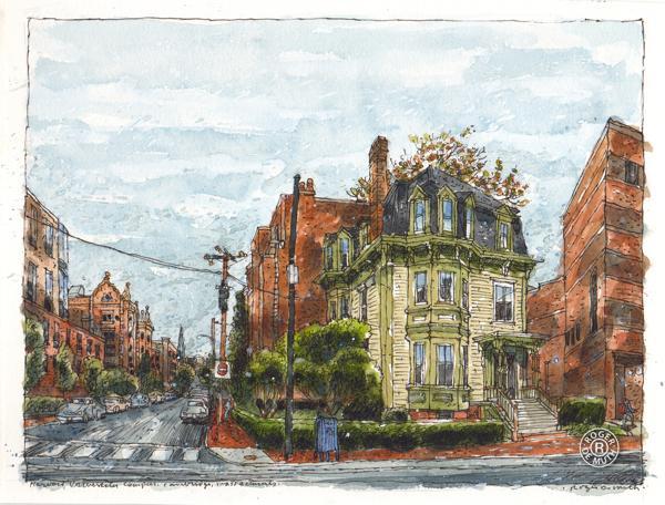 美国画家罗杰·德穆斯城市街景水彩画图片