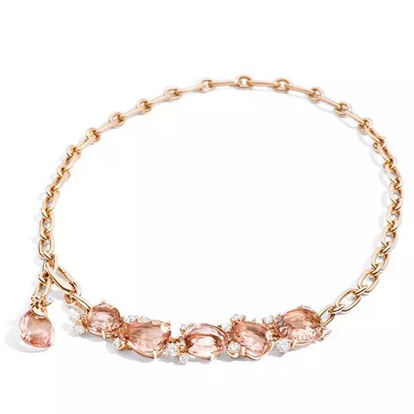 宝曼兰朵Bahia系列项链 玫瑰金镶摩根石和白钻