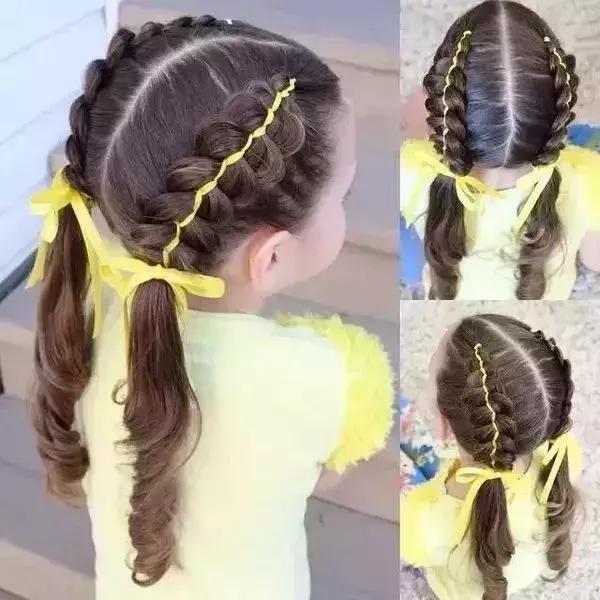 潮娃|轻松3步简单过年儿童不怕,没有编发完成泡面少烫头发头图片