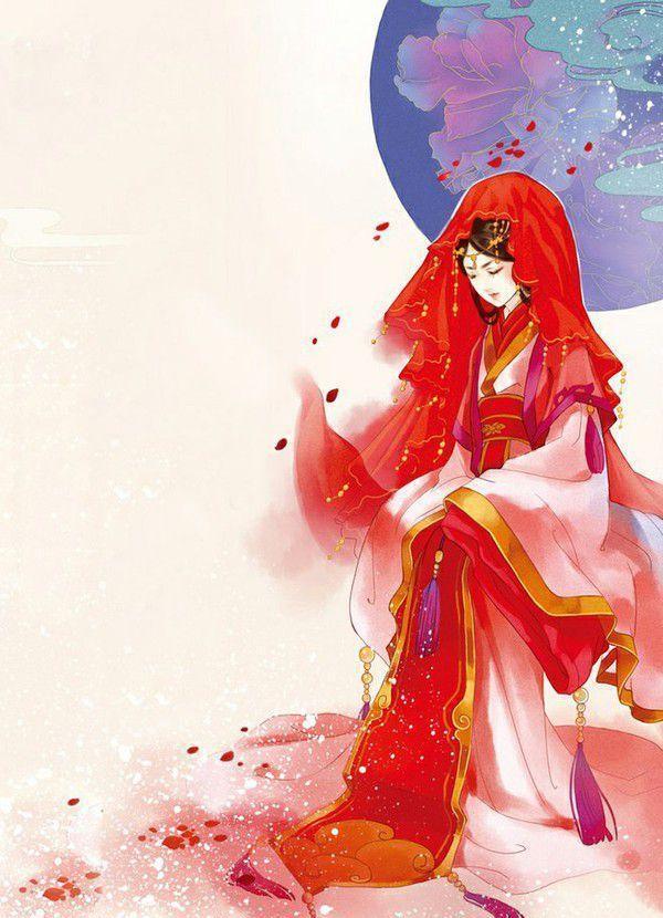 动漫古风女子出嫁壁纸——桃花好,朱颜巧,凤袍霞帔