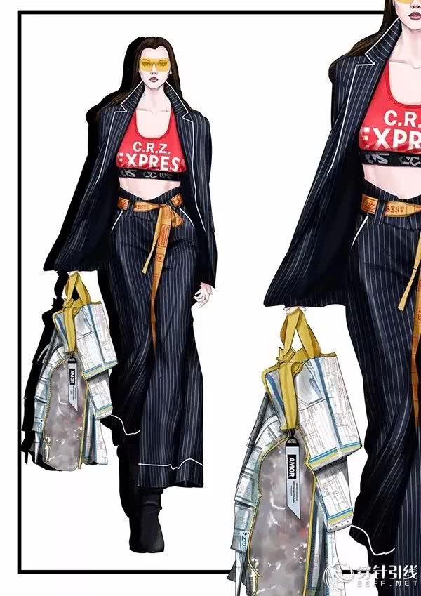 青子襟/ps ai cdr服裝手繪效果圖分享