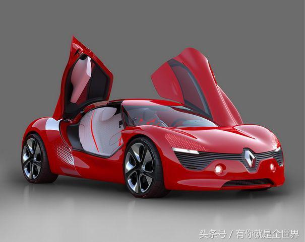 雷诺最新的概念车产品独特的线条以及红色的内饰显得更加柔美!