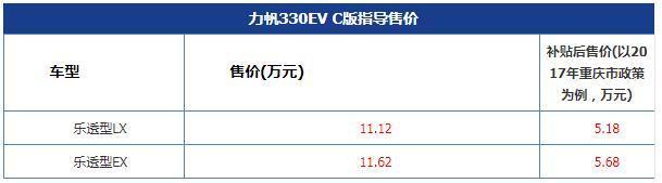 力帆330EV C版上市 售价11.12-11.62万元