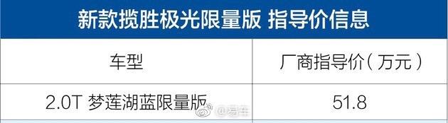路虎揽胜极光梦莲湖蓝限量版上市 售价51.8万元