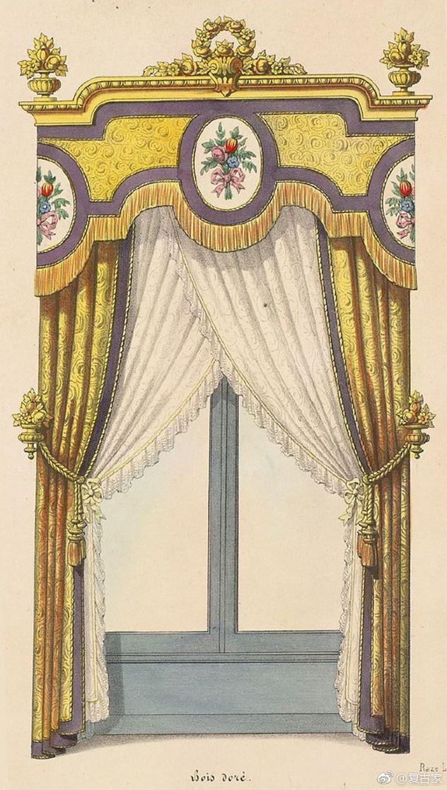 18~19世纪的法国窗帘手绘稿经典的法式浪漫主义风格