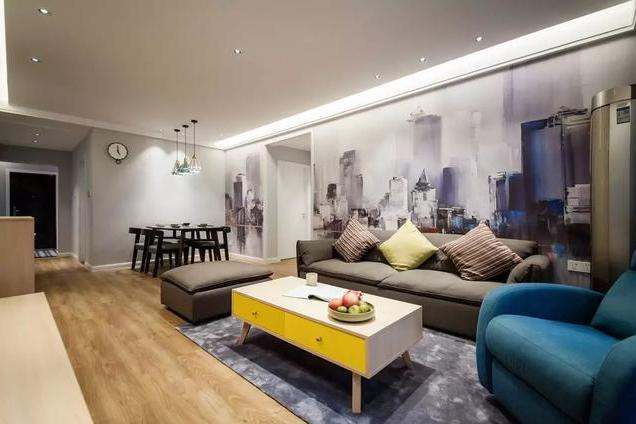 80㎡现代北欧风,壁布背景墙,温馨好漂亮!图片