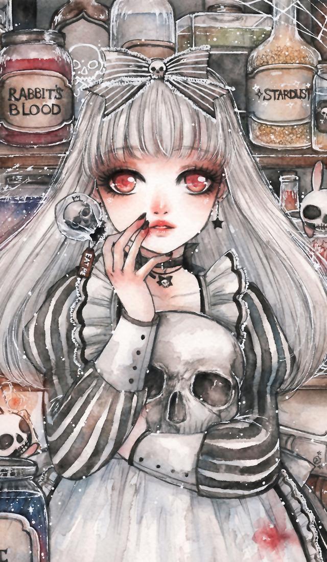 插画|手绘小姐姐 水彩插画手绘女孩壁纸