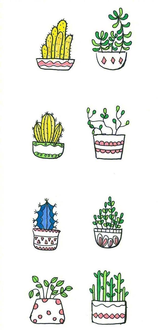 一组超可爱盆栽简笔画,幼儿园小朋友都能画
