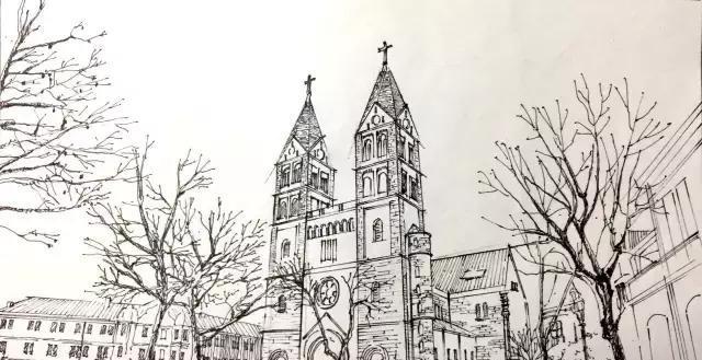 钟楼画手绘简单