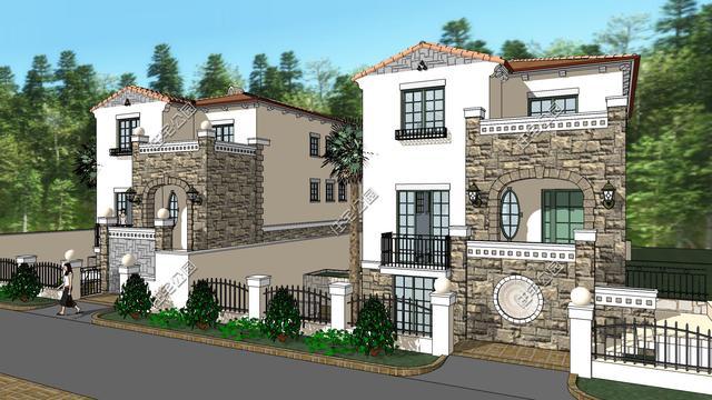 新别墅木屋地中海日志,7.7米X13.7米,2层带地风格建造农村别墅图片