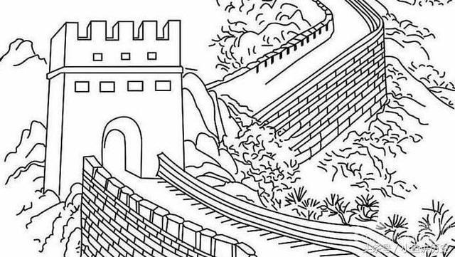 长城手绘图片简单画法