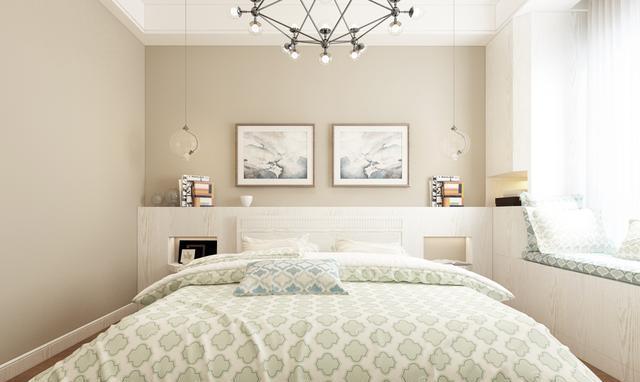 △主卧的轻盈感让人满心欢喜,床头背景墙的墙柜设计既满足了收纳,又图片