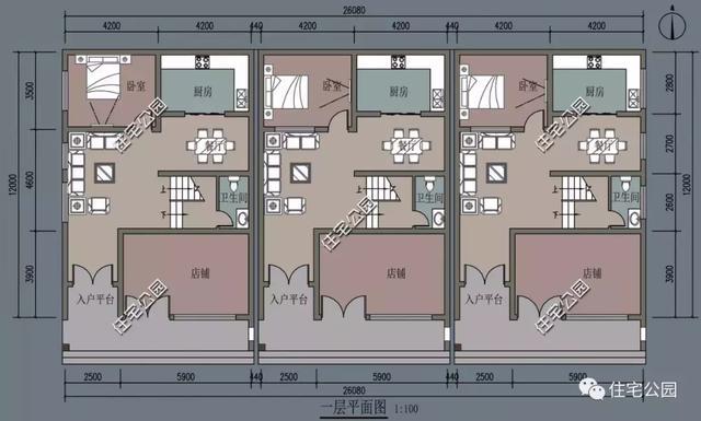 求一套农村自建房施工图纸 进深八米开间十一米, 要求三个卧室一厨一