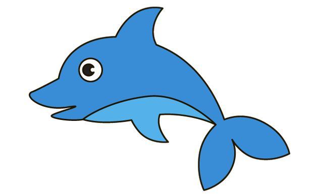卡通蓝色小鲸鱼,陪孩子来画一