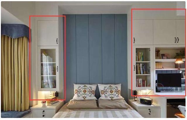 我们的卧室除了衣柜,床头两边依然是柜子图片