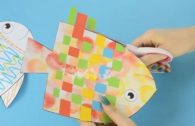 锻炼儿童手部精细动作,儿童手工纸编小鱼