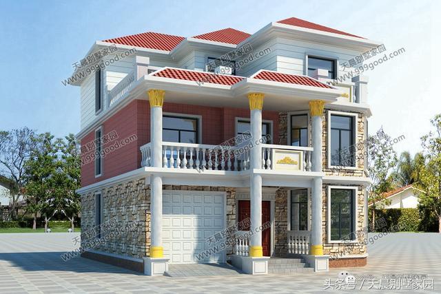 6套造价统统30万内的3层农村别墅, 开间都10米, 每套图片