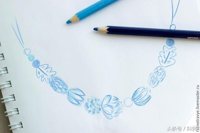 """用黏土和彩绘技术手工制作俄罗斯""""格热利""""蓝花瓷蓝白绘花风项链"""