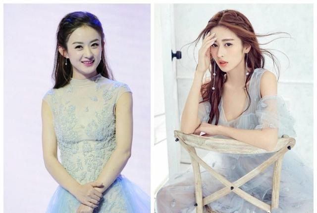 赵丽颖和颖儿不忍一岁,同穿长发,赵丽颖相差直校服女烫发型学生图片图片