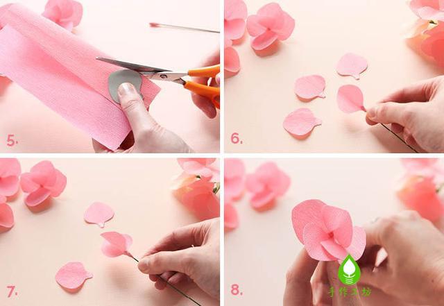 手工皱纹纸纸花手作图解|diy烂漫的绣球花|居家装饰