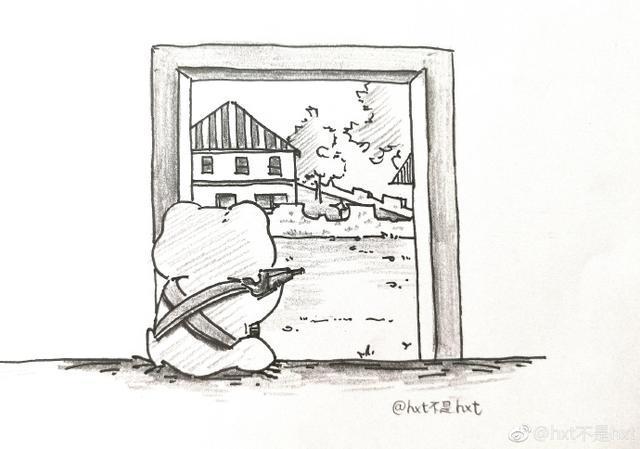 游戏吃鸡图片手绘人