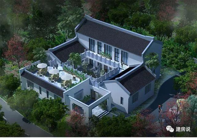 中式别墅3:标准的现代四合院,结合现代露台使用情况,设计精良.