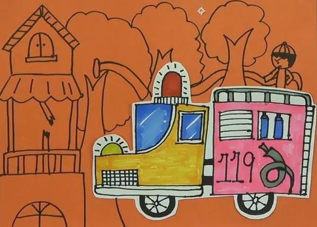 有趣的儿童创意粘贴画——消防车,男孩儿们的最爱,快