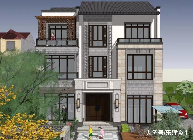 三层中式别墅设计, 现代手法融合传统元素, 古朴精致