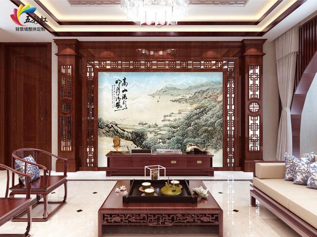 17,新中式酒红钯罗马柱搭配微晶石电视背景墙造型效果图图片