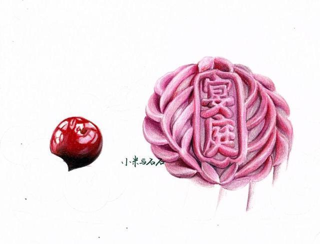 彩铅手绘 中秋月饼