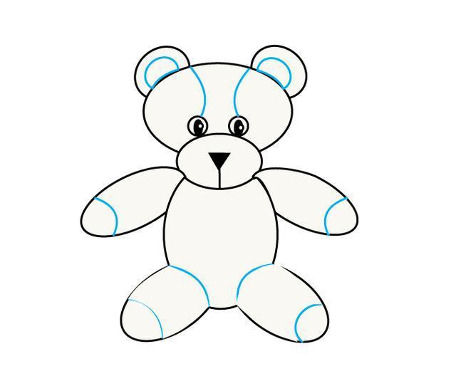儿童简笔画 孩子们的卡通泰迪熊玩具,几个圆就能画出来