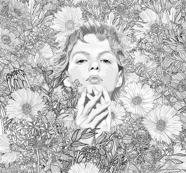 插画丨他把手绘线描画活了,女神们在花丛中优雅重生图片