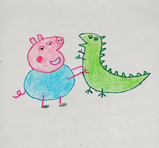 幼儿创意简笔画|乔治和他的恐龙先生,很简单哦,我们一