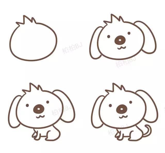 幼儿园狗年简笔画