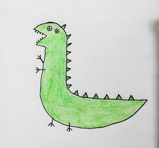 幼儿创意简笔画|小猪佩奇里的恐龙玩具和乔治画的恐龙