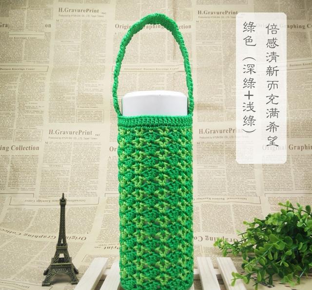 手工钩针编织~深绿+浅绿密实耐用杯子套,清新而充满希望的感觉!