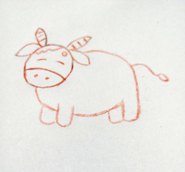 幼儿创意简笔画|可爱的牛牛,我们一起画吧!