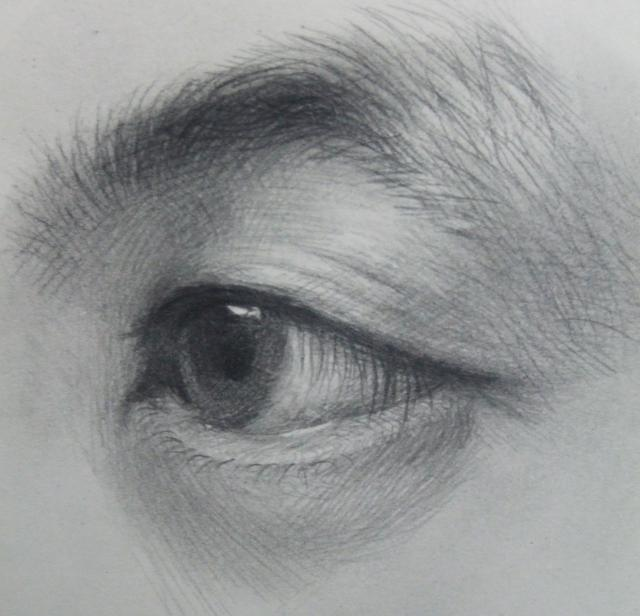 美术高考素描真人眼睛(局部)