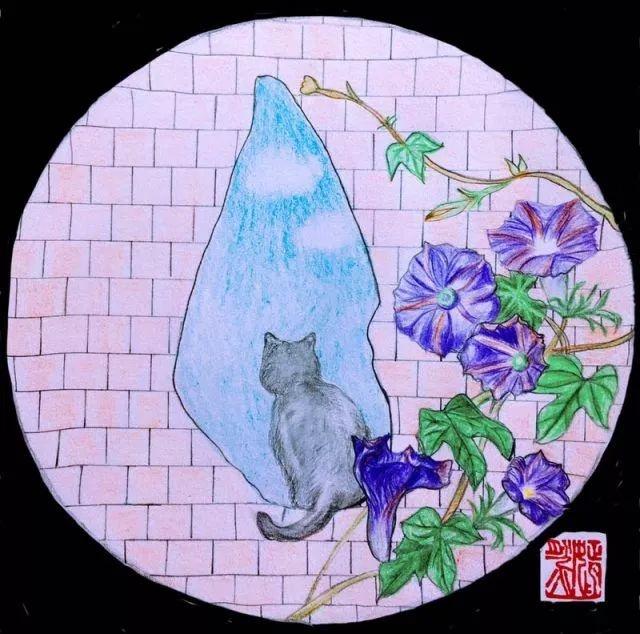 手绘爱情猫咪简笔画