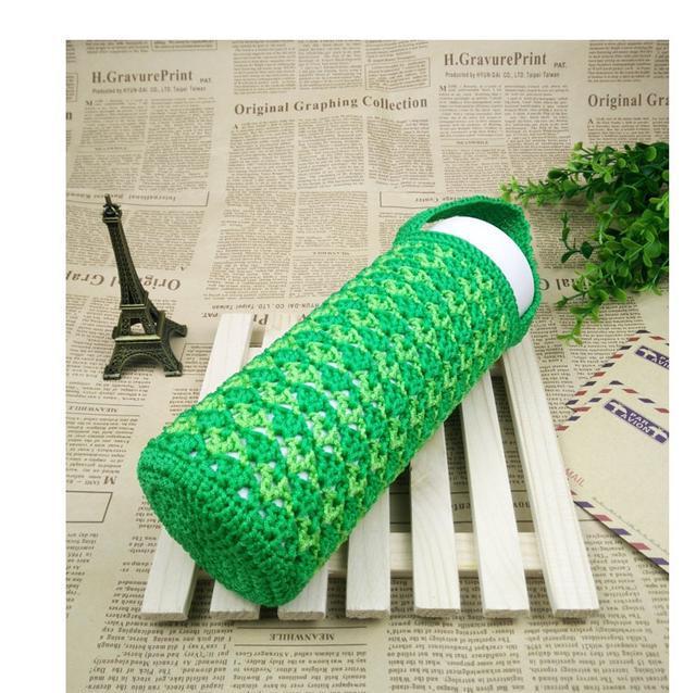 手工钩针编织~深绿 浅绿密实耐用杯子套,清新而充满希望的感觉!