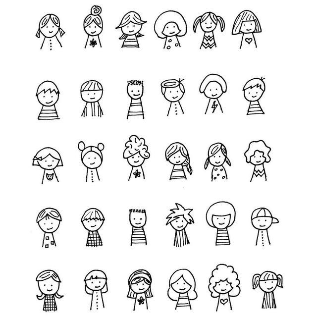 手帐素材 80个萌萌的卡通简笔画小人素材分享