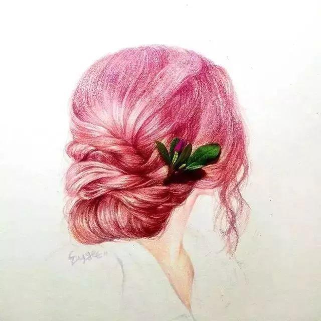 兔子的可爱萌态 在她的画笔下很灵动 几种红色彩铅的晕染过渡 把头发图片